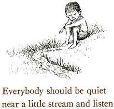 Quiet and listen near a little stream