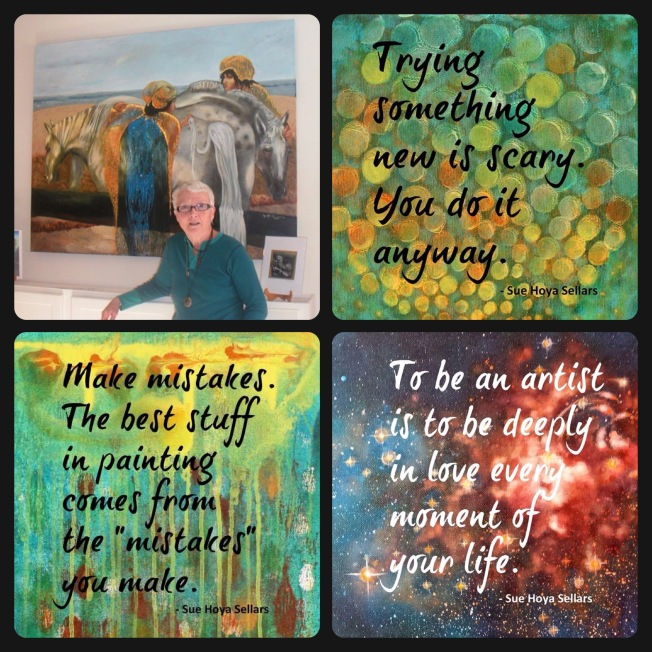 Sue with her art and quote collages by Christina Gage ~ Forms of Joy by Christina Gage