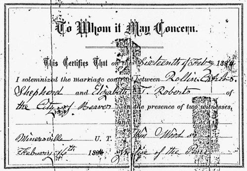 Elizabeth Roberts and RDC Shepherd Marriage License