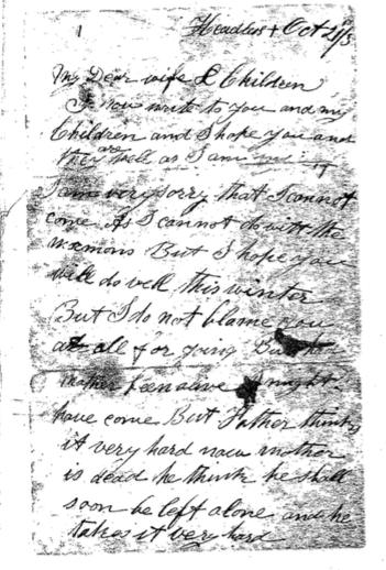 John Wiggett's letter to Lizzie pg 1